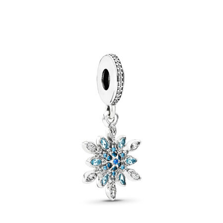 Crystalized Snowflake Dangle Charm, Blue Crystals & Clear CZ, Sterling silver, Blue, Mixed stones - PANDORA - #791761NBLMX