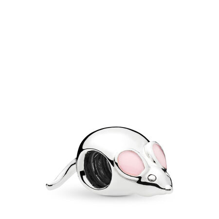 Cute Mouse Charm, Pink Enamel, Sterling silver, Enamel, Pink - PANDORA - #797062EN160