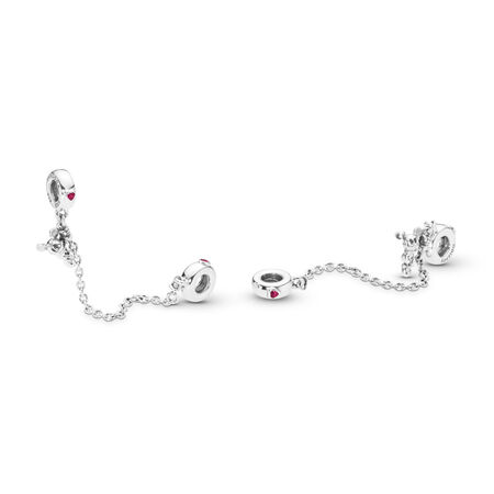Disney, Climbing Mickey Safety Chain, Red CZ