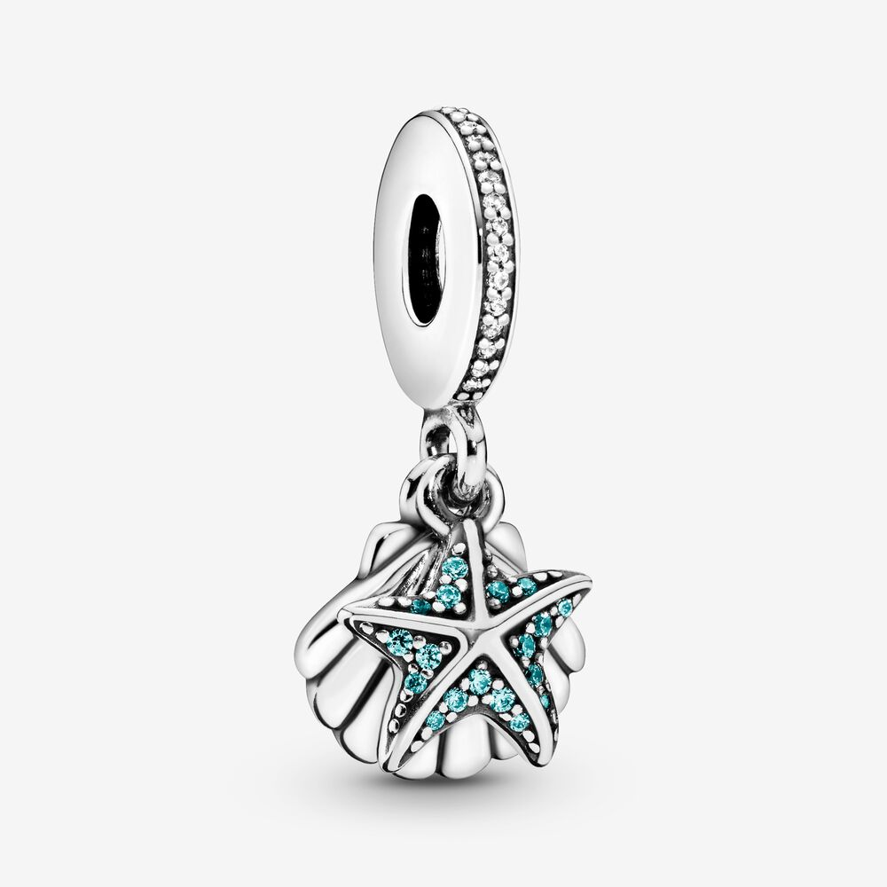 Starfish And Sea Shell Dangle Charm Sterling Silver Pandora Us
