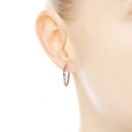 Droplets Hoop Earrings, PANDORA Rose™ & Clear CZ, PANDORA Rose, Cubic Zirconia - PANDORA - #286244CZ