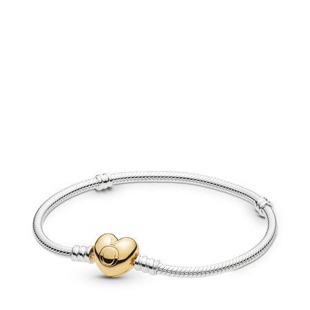 Sterling Silver Bracelet w/ PANDORA Shine™ Heart Clasp