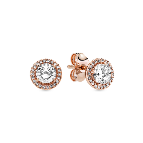 Round Sparkle Halo Stud Earrings