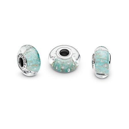 Mint Glitter Charm, Murano Glass