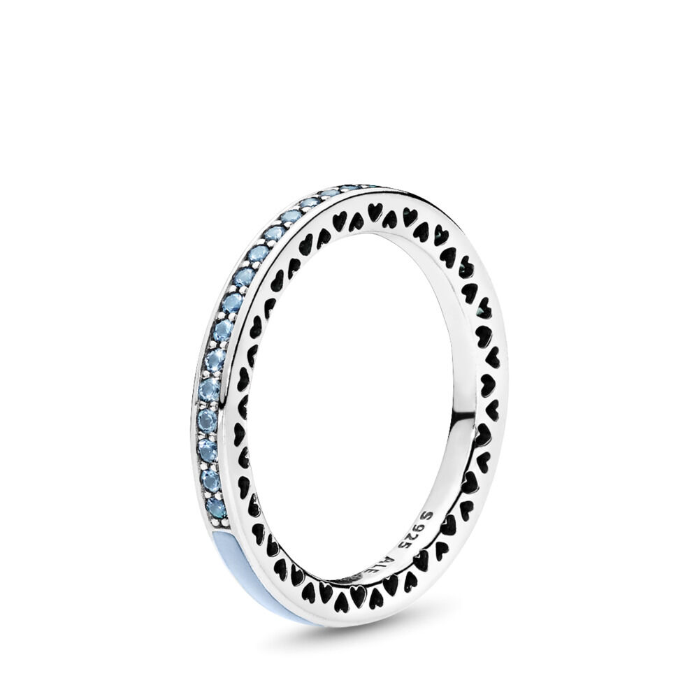 415433599 Radiant Hearts of PANDORA Ring, Air Blue Enamel & Sky Blue Synthetic Spinel