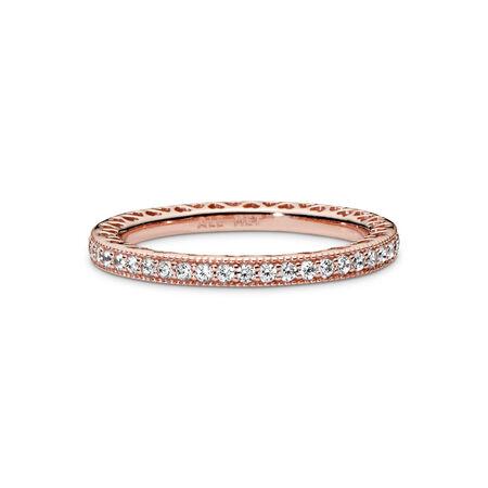 Hearts of PANDORA Ring, PANDORA Rose™ & Clear CZ