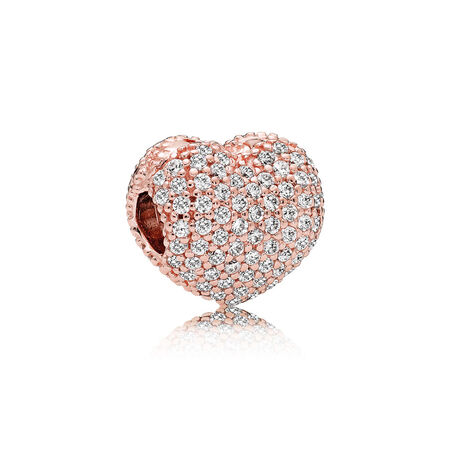 Pavé Open My Heart Clip, PANDORA Rose™ & Clear CZ