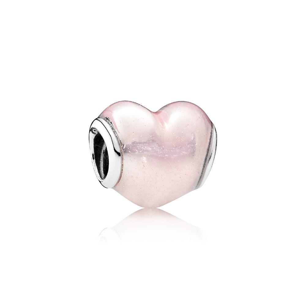 Glittering Heart Charm Soft Pink Enamel Pandora Jewelry Us
