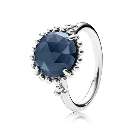 Midnight Star Stackable Ring, Blue Crystal, Sterling silver, Blue, Crystal - PANDORA - #190910NBC