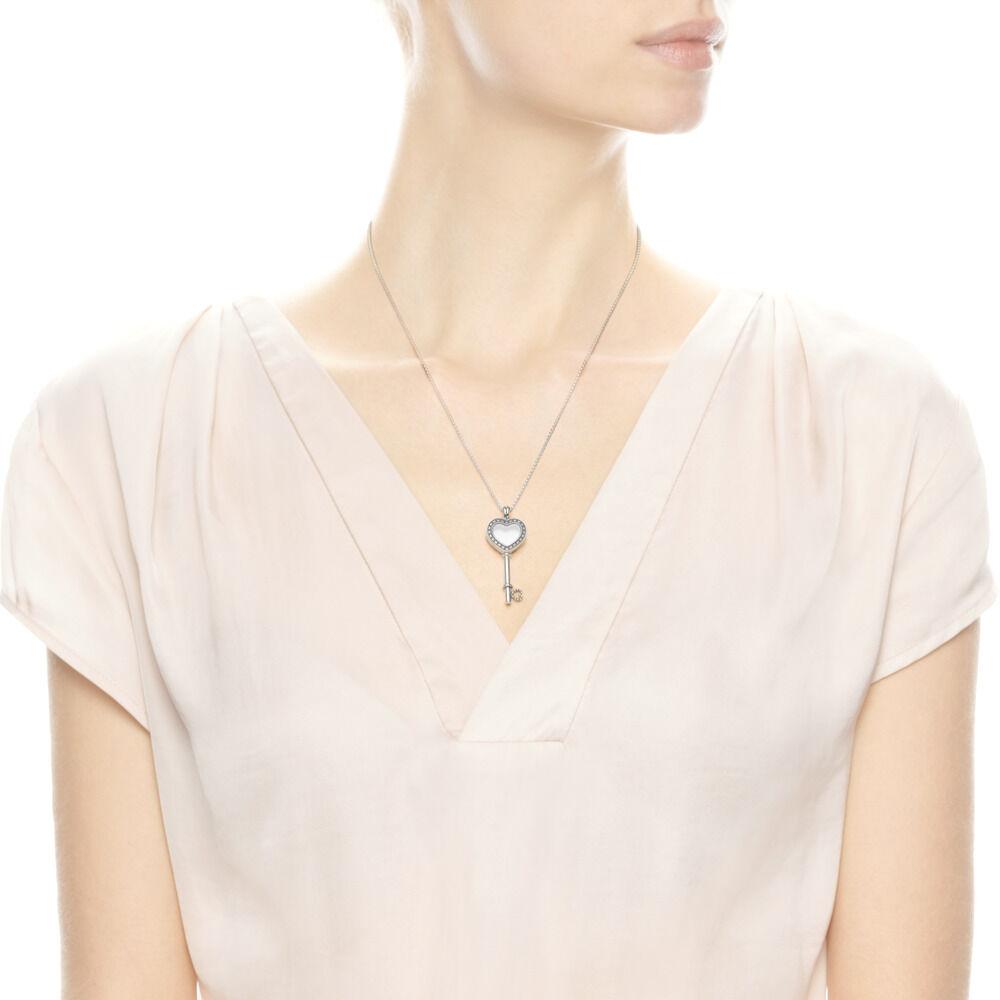 af7e51cf2 Floating Locket Heart Key Necklace, Sapphire Crystal & Clear CZ