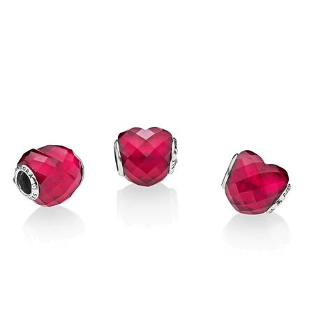 Fuchsia Shape of Love Charm, Fuchsia Rose Crystal