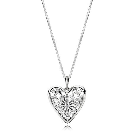 Heart of Winter Necklace, Clear CZ, Sterling silver, Cubic Zirconia - PANDORA - #396369CZ