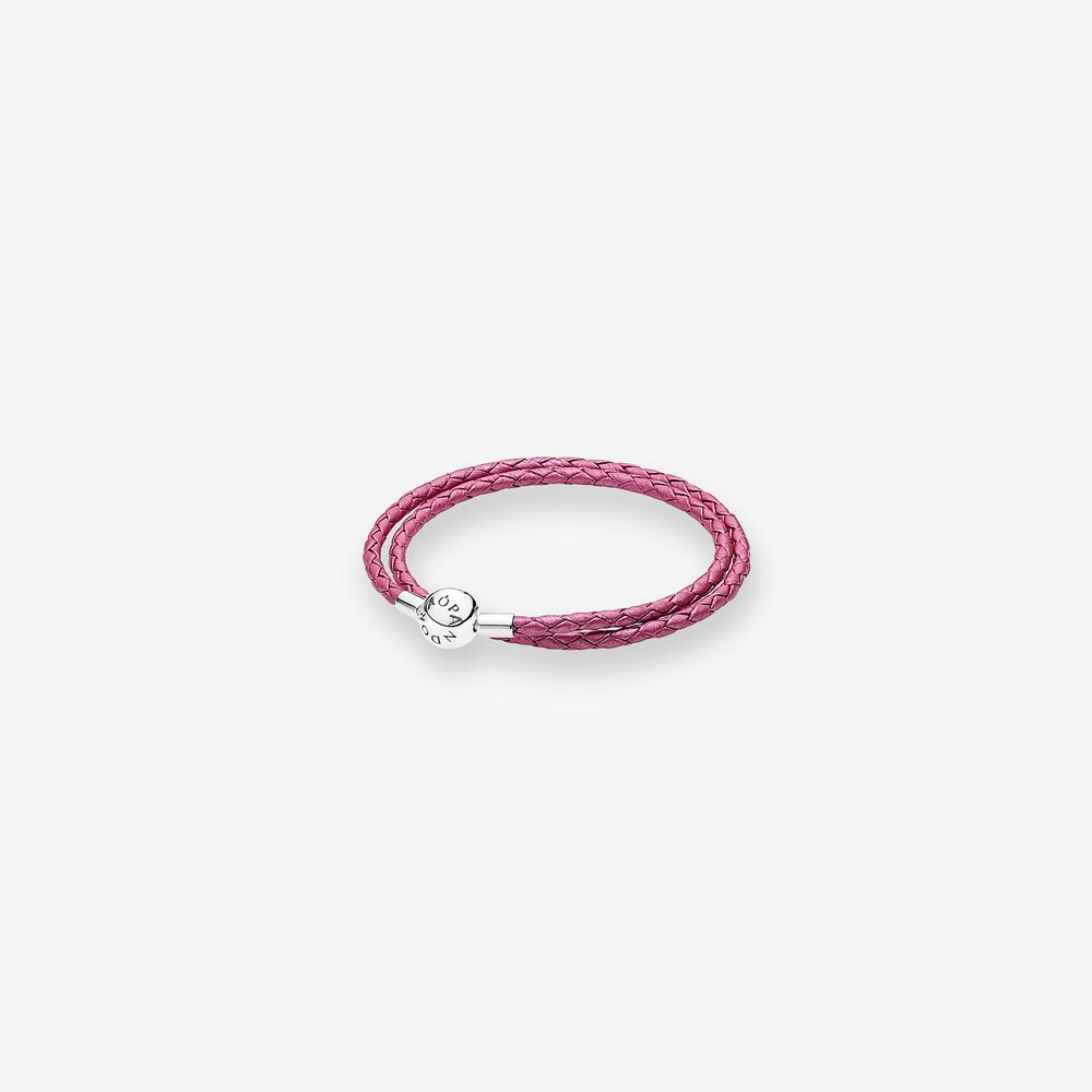 Honeysuckle Pink Leather Charm Bracelet