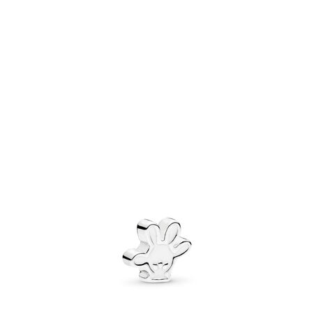 Disney, Mickey Glove Petite Locket Charm, White Enamel