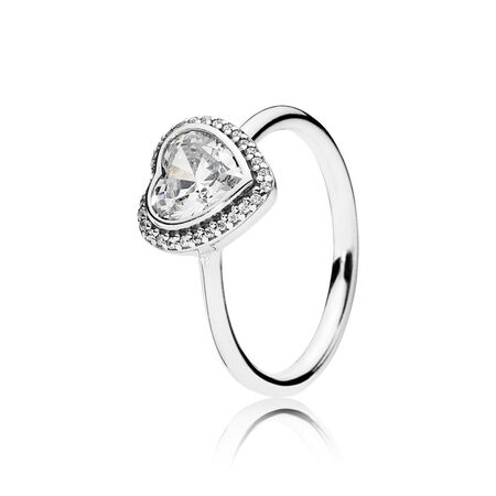 Sparkling Love Heart Ring, Clear CZ, Sterling silver, Cubic Zirconia - PANDORA - #190929CZ