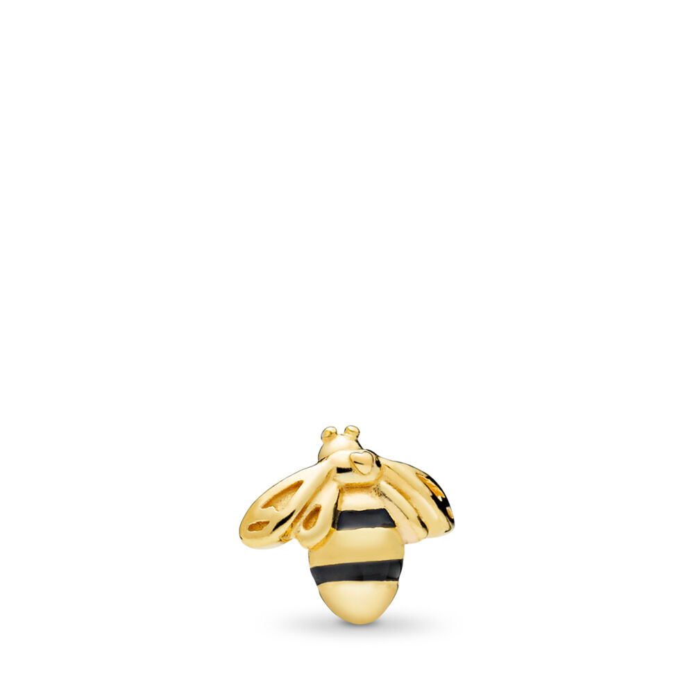 afd0407b97 Queen Bee Petite Locket Charm, PANDORA Shine™ & Black Enamel, 18ct Gold  Plated