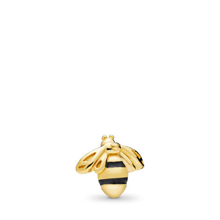 Queen Bee Petite Locket Charm, PANDORA Shine™ & Black Enamel, 18ct Gold Plated, Enamel, Black - PANDORA - #767049EN16