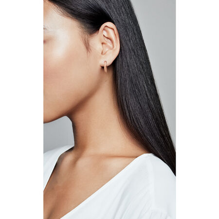 Matte Brilliance Hoop Earrings, Pandora Rose™, PANDORA Rose - PANDORA - #287930