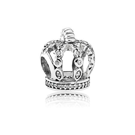 Fairytale Crown Charm, Clear CZ