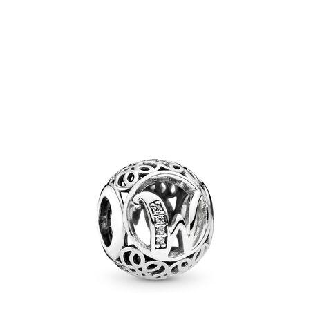Vintage W, Clear CZ, Sterling silver, Cubic Zirconia - PANDORA - #791867CZ