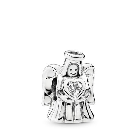 2a3edcff5 Angel of Love Charm, Clear CZ Sterling silver, Cubic Zirconia