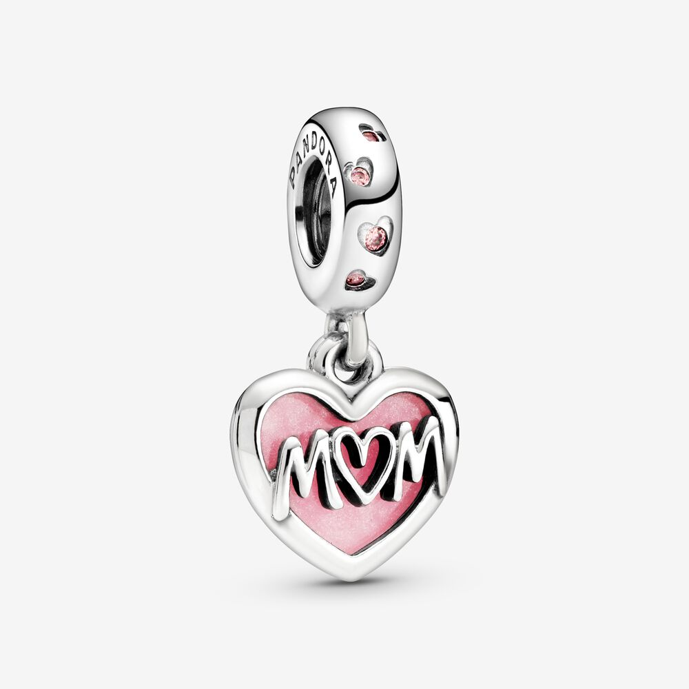 Mom Script Heart Dangle Charm   Sterling silver   Pandora US