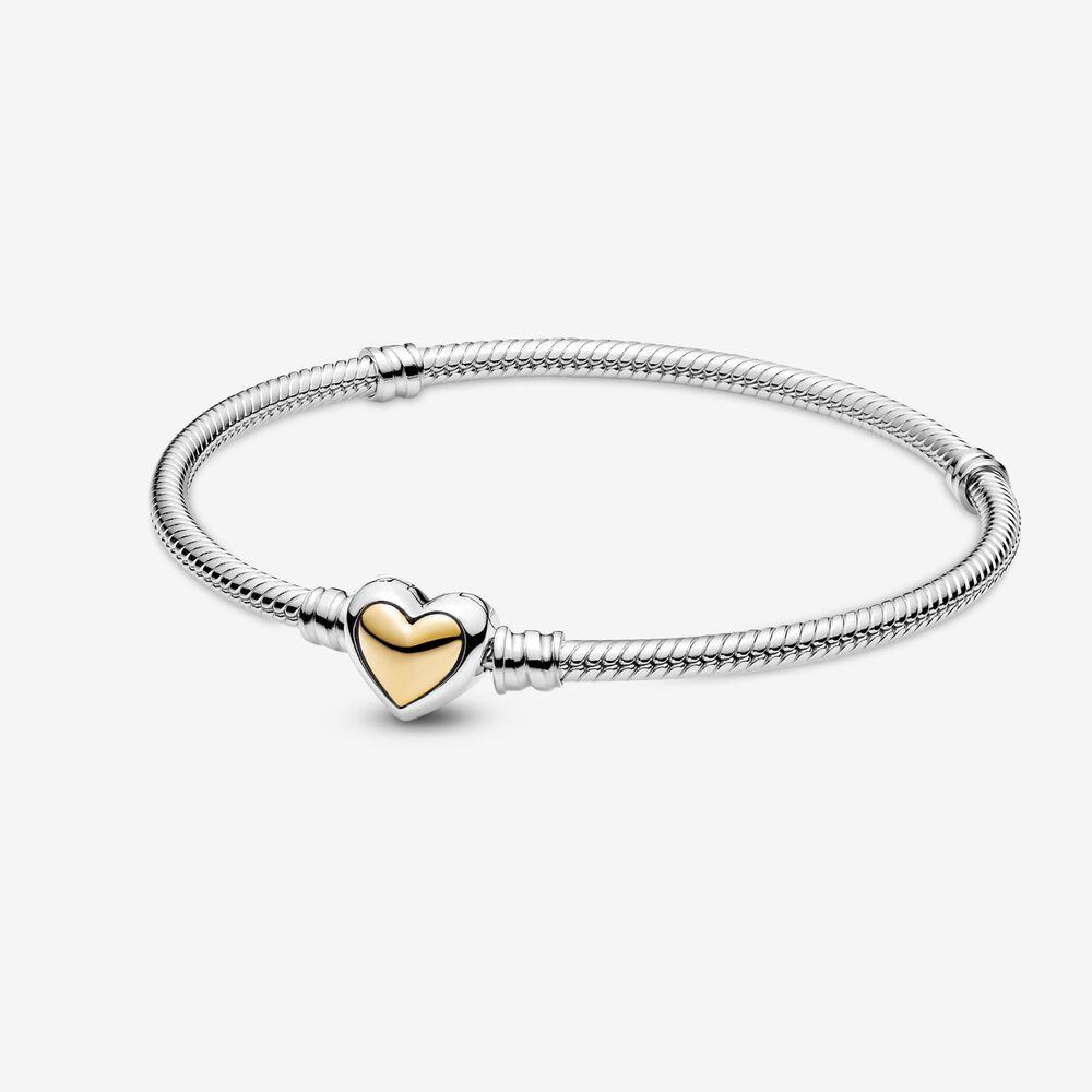 Domed Golden Heart Clasp Snake Chain Bracelet | Two-tone | Pandora US