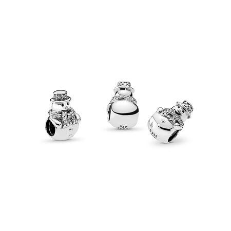 Snowman Charm, Clear CZ, Sterling silver, Cubic Zirconia - PANDORA - #792001CZ