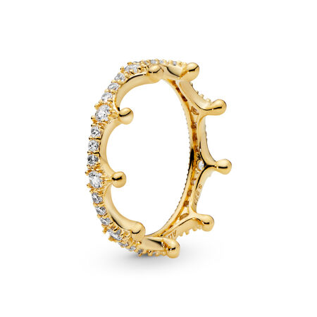 9bf4d57fe Enchanted Crown Ring, PANDORA Shine™ & Clear CZ 18ct Gold Plated, Cubic  Zirconia