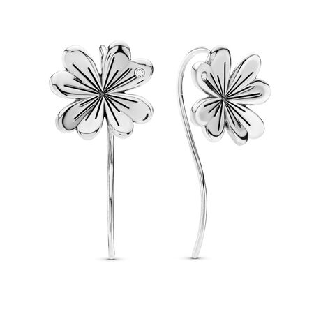 Lucky Four-Leaf Clover Earrings, Sterling silver, Cubic Zirconia - PANDORA - #297908CZ