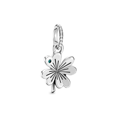 Lucky Four-Leaf Clover Pendant, Pandora Shine™, Sterling silver, Green, Crystal - PANDORA - #397965NAG