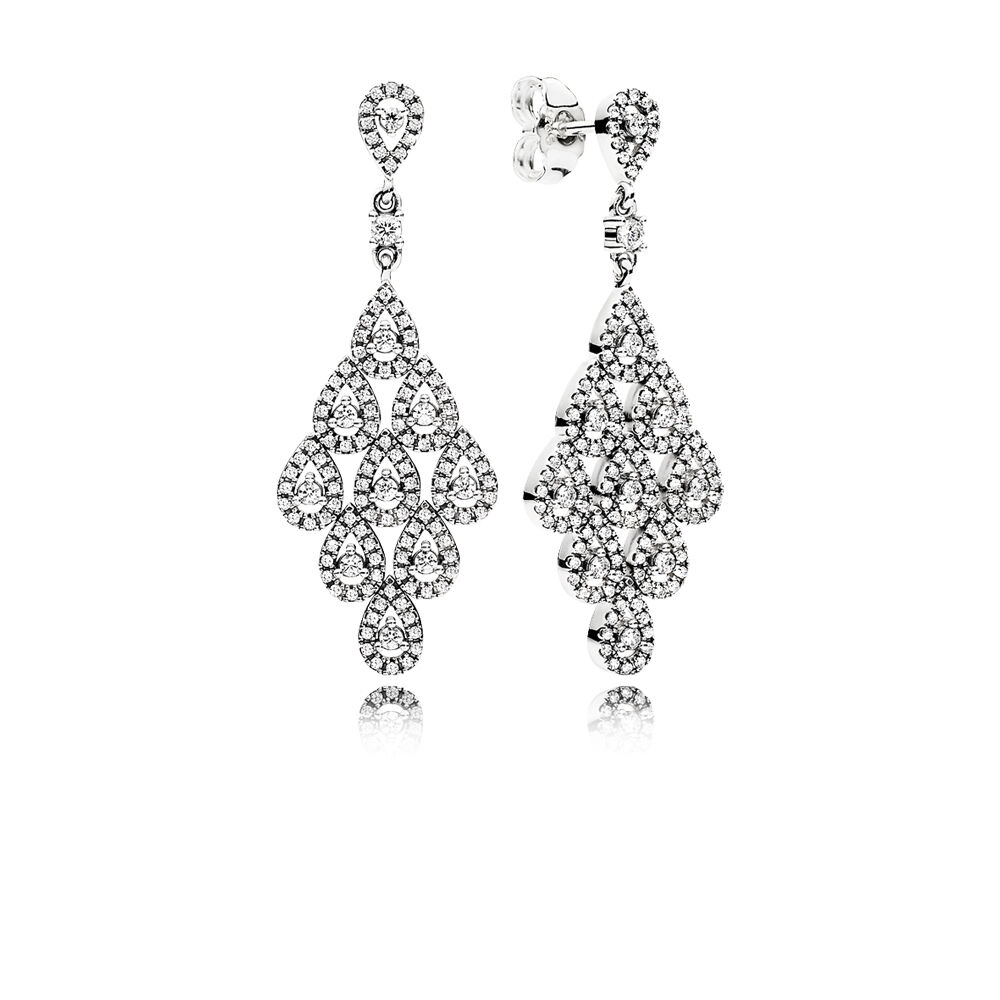 Cascading Glamour Earrings Clear Cz