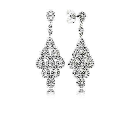 Cascading teardrop chandelier earrings pandora jewelry us cascading glamour earrings clear cz mozeypictures Image collections