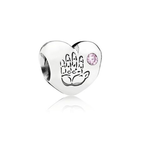 Baby Girl Charm, Pink CZ