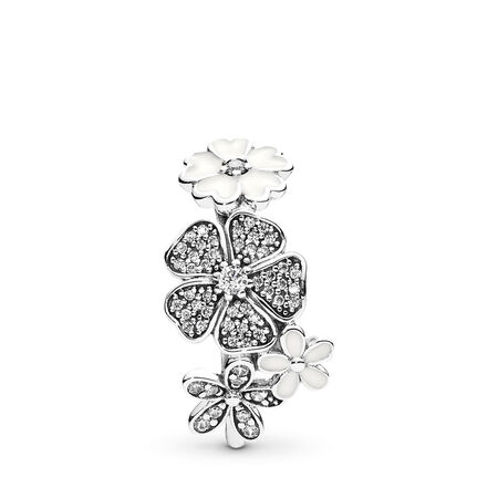 Shimmering Bouquet Ring, White Enamel & Clear CZ
