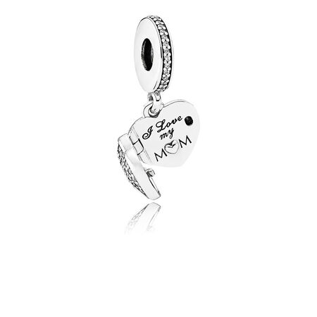 I Love My Mom Dangle Charm, Clear CZ