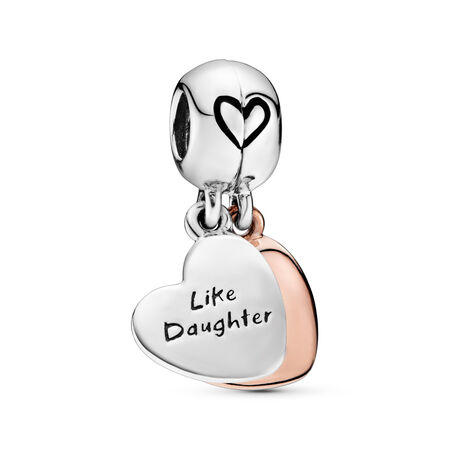 Mother & Daughter Love Dangle Charm, PANDORA Rose with sterling silver, Enamel, Black - PANDORA - #787783EN16