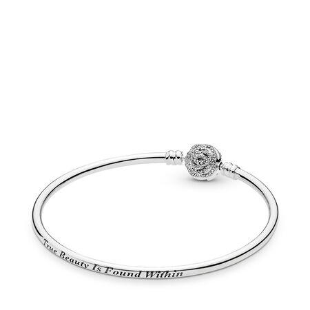Disney, Beauty & The Beast Bangle Bracelet, Clear CZ, Sterling silver, Cubic Zirconia - PANDORA - #590748CZ