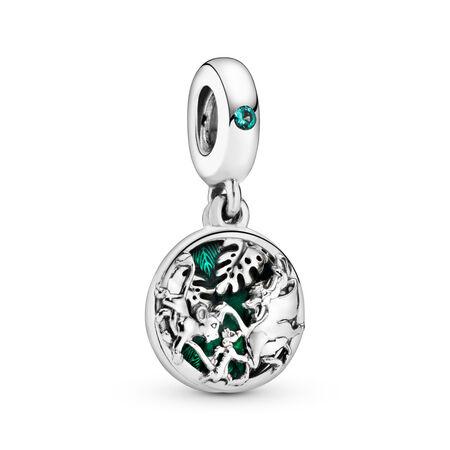 Disney, Simba, Timon & Pumbaa Dangle Charm, Sterling silver, Enamel, Green, Crystal - PANDORA - #798043NRG