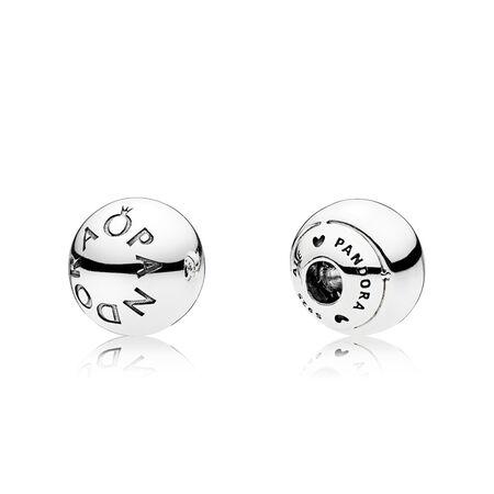 PANDORA Logo Open Bangle Caps, Sterling silver - PANDORA - #796489