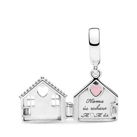 Perfect Home Dangle Charm, Pale Pink Enamel