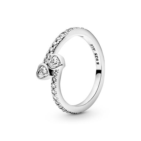 Two Sparkling Hearts Ring, Sterling silver, Cubic Zirconia - PANDORA - #191023CZ