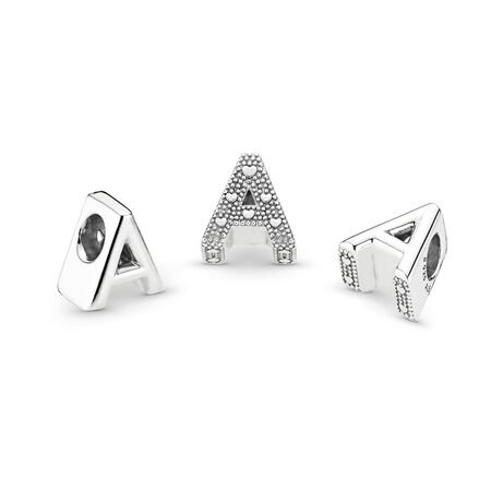 Letter A Charm, Sterling silver - PANDORA - #797455