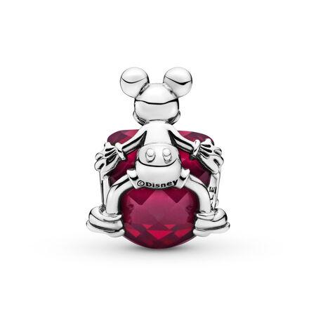 Disney, Mickey Love Heart Charm, Fuchsia Rose Crystal