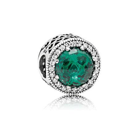 Radiant Hearts Charm, Sea Green Crystals & Clear CZ