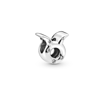 Taurus sterling silver charm with clear cubic zirconia