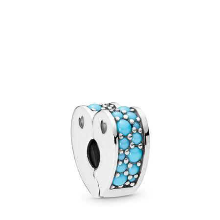 Arcs of Love Clip, Cyan Blue Crystal, Sterling silver, Silicone, Blue, Crystal - PANDORA - #797227NYA