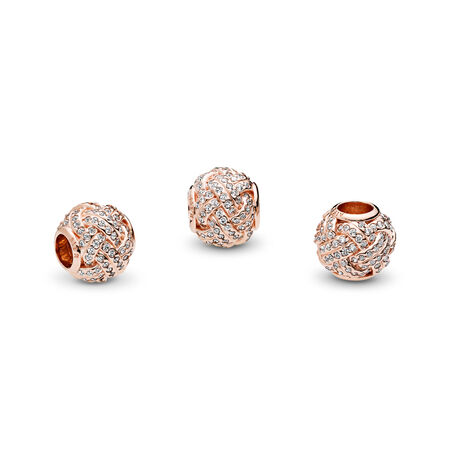 Sparkling Love Knot Charm, PANDORA Rose™ & Clear CZ