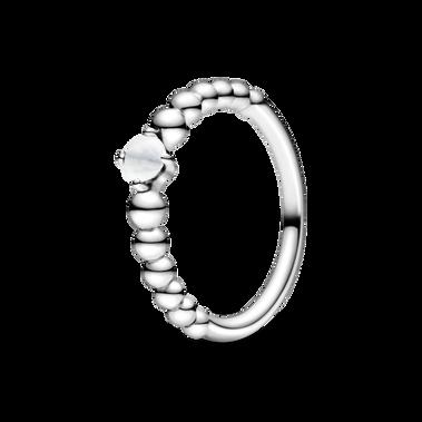 April Milky White Beaded Ring