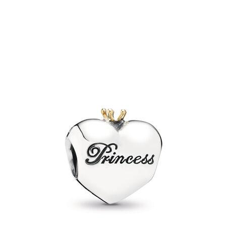 Princess Heart Charm, Pink CZ